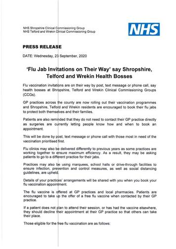- Flu jab press release