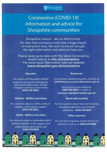 - Shropshire Council COVID-19 information & advice for Shropshire communities